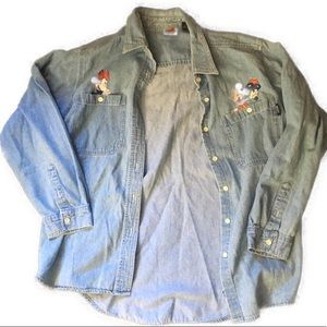 VINTAGE Mickey | Denim Button Up Shirt Size Large